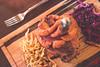 The Schweinshaxe - heritage pork shank, North Fork red cabbage, herb spatzle, pork jus (luyaozers) Tags: restaurant dinner food foodporn pork schweinshaxe spatzle cabbage german crispy