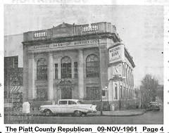 National Bank of Monticello, IL with Clock November 1961 (RLWisegarver) Tags: piatt county history monticello illinois usa il