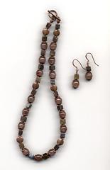 Necklace and Earrings of Copper, Rutilated Quartz & Bronzite (elizabatz.jensen) Tags: quartz stone semiprecious necklace earrings jewelry copper rutilatedquartz bronzite