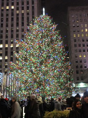 2017 Christmas Tree Rockefeller Center 5040 (Brechtbug) Tags: 2017 christmas tree rockefeller center with lights 12162017 nyc 30 rock new york city standing up above ice rink snow shoveling workers skating holiday decoration ornaments night lites light oversize load ornament midtown manhattan