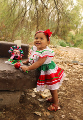 Looking Up (gracielamedina1) Tags: baby girl outside outdoor mexican dress doll one 1 shoes dirt rock portrait canon culture
