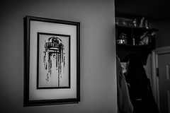 7 Day Black & White Challenge (Katherine Ridgley) Tags: toronto indoor indoors monochrome blackwhite blackandwhite 7dayblackwhitechallenge challenge picture frame wall room starwars r2d2