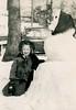Nancy and Her Snowwoman, December 1951 (Alan Mays) Tags: ephemera photographs photos foundphotos portraits snapshots children girls snow snowwomen snowwoman women snowmen snowman 1951 1950s old vintage vptp