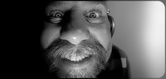Fisheyed selfie. . . (CWhatPhotos) Tags: look one eye me man male think bw mono monochrome photographs photograph pics pictures pic picture image images foto fotos photography artistic cwhatphotos that have which with contain olympus digital camera lens em5 mkii samyang fisheye 75mm aspherical manual micro smile smiles teeth goatee pose self portrait eyes wide angle closeup fish view