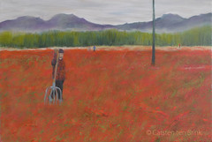 Turning the chillis (10b travelling / Carsten ten Brink) Tags: carstentenbrink painting oilpainting china peoplesrepublicofchina silkroad centralstmartins cmtbpainting 2017 chili chilli field farming woman pitchfork landscape red cmtbart