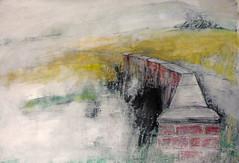 Rape fields at Sands Bridge (johnhumber48) Tags: landscape landscapedrawing agriculturallandscape eastyorkshire sunkisland charcoal oilpastel gesso oilbar pastellandscape summer fields holderness mixedmedia