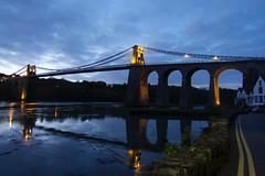 6253 Pont Grog y Borth reflections (Andy - Busyyyyyyyyy) Tags: bbb bluehour bridge menaibridge menaistraits menaisuspensionbridge mmm pontgrogyborth ppp seawater sss water www