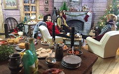 1. Christmas with Friends (Foxy Belle) Tags: christmas barbie log cabin doll 16 scale dollhouse miniature rustic woody vintage scrapbook paper handmade fireplace ponytail swirl midge 3 food party guitar camp