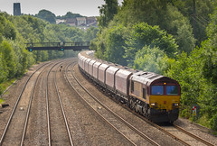 DBC Class 66/0 no 66183 at Tupton on 06-06-2017 with the Washwood Heat to Peak Forest Empties. (kevaruka) Tags: tupton bridge chesterfield clay cross class 66 59 59003 derbyshire england trains train british rail network railfreight railway telephoto flickr front page thephotographyblog ilobsterit countryside summer 2017 july sun sunshine sunny day canon eos 5d mk3 ef100400 f4556l 5d3 5diii yellow blue green colour colours color colors