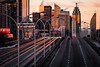 from Dufferin Overpass (Brady Baker) Tags: toronto ontario canada gardiner expressway traffic highway transportation light trails long exposure golden hour sunset dusk winter cold downtown towers buildings glass structure architecture reflection streetlights roadway road outdoor cityscape urban vehicles