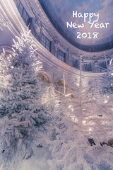 Happy New Year 2018 (Sizun Eye (OFF for a while)) Tags: wishes happy newyear 2018 sizuneye vauxleviconte chateau decoration christmas postcard sapins tree interior