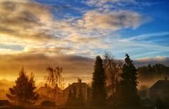 Sunrise in the fog. (Zi Men Photo) Tags: shropshire dawley fog foggy town village telford sunrise colours
