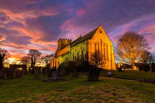 Sunset over St. Mary's Church Easington 23-12-2017