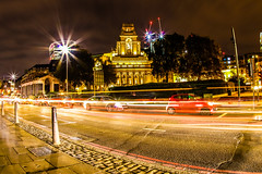 Tower hill, London (Paul Wrights Reserved) Tags: london longexposure londonstreets lightburst lighttrails lights movement buildings building streetphotography streetlights cars vehichles fisheye clouds bright texture vanishingpoint towerhill city citylights