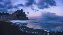 Dawn at vestrahorn (Mika Tuomela) Tags: iceland vestrahorn dawn sunset sunsetcolours beach tidalbeach seascape scenery mountainscenery dramaticscenery landscape landscapephotography mountainlandscape mountains mountainsclouds mountainscape nikond750 panorama