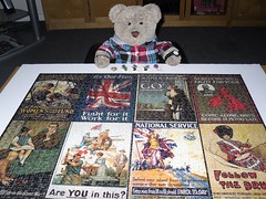 Propergander - I fink that's 'ow yer spells it... (pefkosmad) Tags: jigsaw puzzle hobby leisure pastime 1000pieces secondhand used complete commmemorativepuzzle waddingtons kingandcountry greatwar centenary limitededition 1stworldwar firstworldwar worldwarone posters conflict war propaganda tedricstudmuffin teddy ted bear animal toy cute cuddly soft stuffed plush fluffy