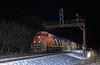 L502 under West Pontiac (GLC 392) Tags: cn gtw 2403 2123 5485 4632 canadian national grand trunk western railway railroad train emd sd60 gp9r ge c408m c408 west pontiac signal signals search light flash snow night time mi michigan l502 barn cowl
