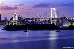 Rainbow Bridge Tokyo II (Stefan Bock) Tags: tokyo tokio japan cooljapan bridge rainbowbridge odaiba water sky sunset sonnenuntergang brücke architektur architecture harbour hafen tokyotower travel reise