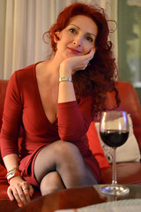 Red woman& red wine (vladobgd) Tags: dress lady dama portreti srpski women red wine crvena haljina vino portrait smily vladobgd portret nikon d3100 35mm lens