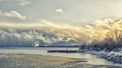 cloudscape (Paul B0udreau) Tags: nikkor1855mm photoshop canada ontario paulboudreauphotography niagara d5100 nikon nikond5100 raw layer portcredit mississauga lakeontario water skyline harbour winter snow factory chimney smoke frozen