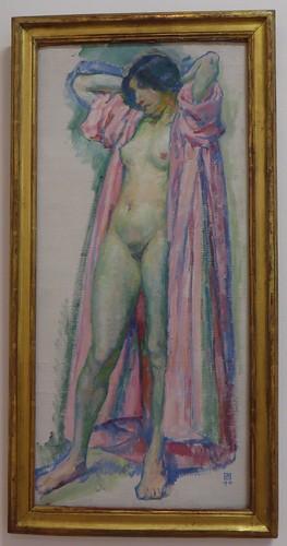 """""""Femme au peignoir rose"""", 1910, Théo van Rysselberghe (1862-1926), Musée de Grenoble, Grenoble, Rhône-Alpes-Auvergne, France."""
