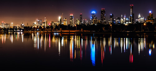 Albert Park Lake Citscape Pano