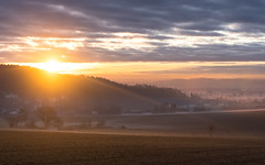 Bavarian Sunrise (redfurwolf) Tags: bavaria germany sunrise sky clouds mountain tree field outdoor landscape nature orange ngc redfurwolf sonyalpha a99ii sony sal70200f28gii