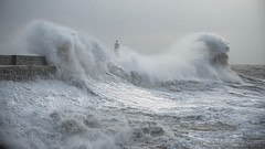 PORTHCAWL LIGHTHOUSE......Storm Eleanor....S.WALES. (IMAGES OF WALES.... (TIMWOOD)) Tags: porthcawl storm eleanor lighthouse seascape wales south sea coast tide sunrise surge bridgend