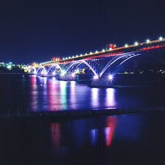 (.tom troutman.) Tags: bronica sqai film analog 120 6x6 mediumformat square longexposure night bridge reflection ny kodak ektar 80mm