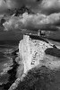 Seven Sisters, Sussex, England (Aethelweard) Tags: eastbourne england unitedkingdom gb cliff lighthouse clouds bw blackandwhite beautiful stunning contrast rock formation chalk nationaltrust landscape breathtakinglandscapes 100d nature rural seaside landscapephotography naturephotography