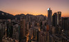 Hong Kong, the city (reinaroundtheglobe) Tags: hongkong asia china city cityscape buildings offices skyscrapers downtown highangleview sunset skycolorful color nopeople
