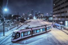 Kansas City Streetcar (Jonathan Tasler) Tags: red kansascity streetcar snow downtown transit mainstreet missouri