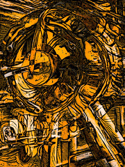 Shaken Not Stirred (Steve Taylor (Photography)) Tags: shakennotstirred clock hands art digital black brown monocolor monocolour monotone strange odd abstract texture