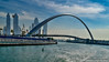 Dubai, United Arab Emirates: Dubai Water Canal Tolerance Bridge elegant double curvature (nabobswims) Tags: ae bridge dubai dubaiwatercanal hdr highdynamicrange ilce6000 lightroom nabob nabobswims night nightfoto photomatix sel18105g sonya6000 tolerancebridge uae unitedarabemirates
