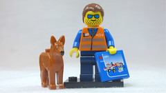 Brick Yourself Custom Lego Figure Engineer with Dog & Big Box of Lego