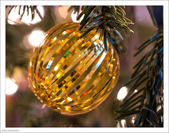 Gold Bauble From The 1970's 364/365 (John Penberthy ARPS) Tags: 30dec17 365the2017edition 3652017 christmas d750 day364365 johnpenberthy nikon bauble decoration foil gold tree