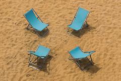 Four beach chairs (Jan van der Wolf) Tags: map175287ve beach beachchairs strand strandstoelen four vier sand zand