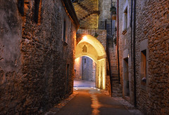 Welcome to the Middle Ages (angelsgermain) Tags: street alley walls houses buildings stairs windows doors archway evening lighting stone middleages medieval palausator baixempordà catalonia catalunya
