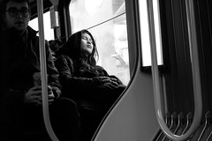 Aboard the 99 B-Line (johnjackson808) Tags: asleep vancouver monochrome transit fujifilmxt1 people bus streetphotography bw hoodie blackandwhite kitsilano westbroadway