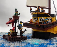The End of the White Doubloon (Robert4168/Garmadon) Tags: lego ship brethrenofthebrickseas eslandola mardier bobs stern raft sail water ripples waves minifigure blue yellow brown captainwhiffo captain story
