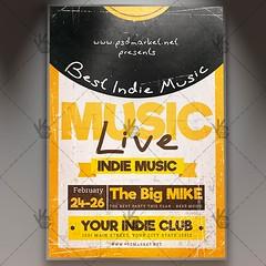 Indie Music Live - Club Flyer PSD Template (psdmarket) Tags: band fest festival gig grunge indie indiefest indieground music psd retro underground vintage vinyl