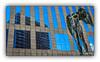 Série La Défense: n° 21 (Jean-Louis DUMAS) Tags: statue buildiing immeuble architecture art artist artistic artistique blue reflets reflections fugitivemoment