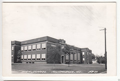 Monticello, IL High School B&W Postcard, 1963 (RLWisegarver) Tags: piatt county history monticello illinois usa il