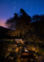 The path to the shires 2 (J C Mills Photography) Tags: canon5dsrpeakdistrictderbyshirelightpaintingnightlongexposure peak district 3 shires head light painting long exposure bridge packhorse river waterfall trees sky stars trails