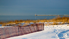 Beach Morning (Lester Public Library) Tags: lakemichigan greatlakes neshotahbeach neshotah neshotahpark snow sand water sky lake tworiverswisconsin wisconsin morning lesterpubliclibrarytworiverswisconsin readdiscoverconnectenrich