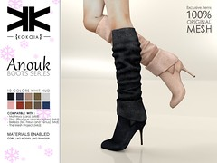 Anouk :: Woman Boots :: 10 Colors ({kokoia}) Tags: kokoia boots boot heel maitreya slink tmp belleza eve high shoes anouk tall upper leg thigh sock winter secondlife avatar 3d