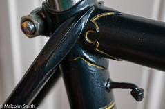 Frame Detail 2 (M C Smith) Tags: frame reynolds 531 black yellow tubes seatpost pentax k7 pumppeg chrome silver gold