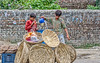 boys pouring water in a highly textured world (Pejasar) Tags: brick wall baskets plastic blue bucket water liquid pour two boys work texture newdelhi india