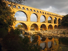 In all seasons (alexfossett) Tags: avignon provence france pontdugard seasons autumn winter summer spring reflections roman aquaduct wonder world heritage site history historical awe olympus omd em5 storms coming