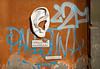 Zona Audio Sorvegliata (hogsvilleBrit) Tags: livorno urbansolid zonaaudiosorvegliata streetart sculpture ear graffiti wall lettering sign